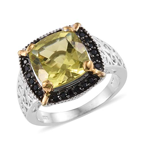 Ring 925 Sterling Silver Platinum Plated Green Gold Quartz Black Spinel Gift Jewelry for Women Size 7 Cttw 5.8