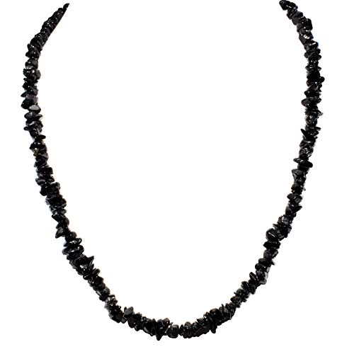 CHARGED 18 Black Tourmaline Crystal Chip Necklace Tumble Polished HEALING ENERGY/PSYCHIC PROTECTION REIKI by ZENERGY GEMS