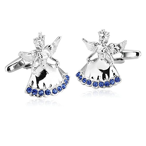 Gnzoe Stainless Steel Men's Silver Blue Cubic Zirconia Romance Angel Fairy Shirt Cufflinks with Gift Box