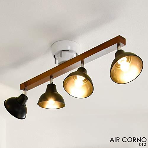 AIR CORNO エアコルノ 030 LED シーリングライト スポット 4灯 ベル型セード 2700-6000K E12 4-6-8畳 天然木 アイアンウッド 90-320度可動 マットブラック 艶消し シンプル モダン ビンテージ デザイン aircorno030 B07CCKPQQ5