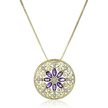"""18k Yellow Gold Plated Sterling Silver Genuine Amethyst and Diamond Accent Filigree Mandala Pendant Necklace, 18"""""""