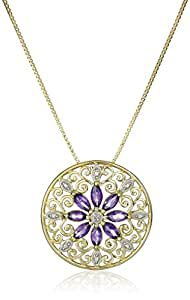 """18k Yellow Gold-Plated Sterling Silver Mandala Genuine Amethyst Filigree Pendant Necklace, 18"""""""