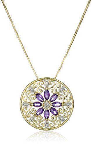 - 18k Yellow Gold Plated Sterling Silver Genuine Amethyst and Diamond Accent Filigree Mandala Pendant Necklace, 18