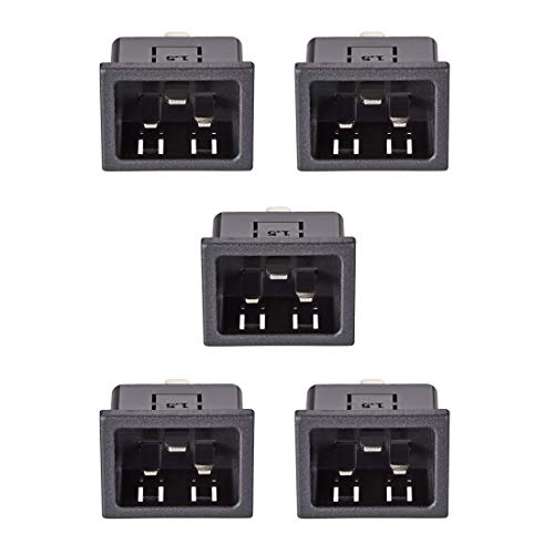 uxcell Panel Mount Plug Adapter AC 250V 16A C20 3 Pins IEC Inlet Plug Power Connector Socket Staight Pack of 5