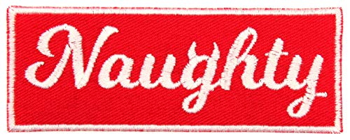 (Santa's List Naughty Iron On Christmas Patch Applique with Devil Horns - Red, White - 4
