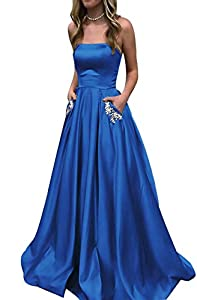 HONGFUYU 2019 Homecoming Dress Satin Strapless A-line Semi Formal Gowns with Beaded Pockets Prom Dresses