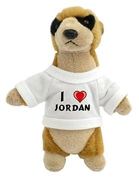 Suricata personalizada de peluche (juguete) con Amo Jordan en la camiseta