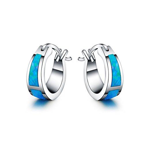 925 Sterling Silber - Synthetischer blau Fire Opal Stud Runden Ohrringe für Frauen