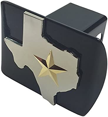 with Gold 3D star METAL emblem on black METAL Hitch Cover State of Texas