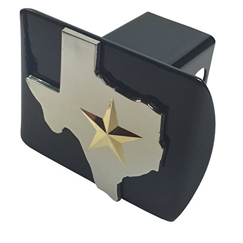(State of Texas (with Gold 3D star) METAL emblem on black METAL Hitch)
