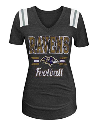 NFL Baltimore Ravens Women's Tri-Blend Short Sleeve V-Neck Shirt, Small, Black