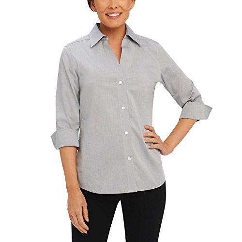 Button Down No Iron Pinpoint - Foxcroft NYC Womens Pinpoint Oxford Shirt Non-Iron Stretch Poplin Blouse (X-Large, Silver)