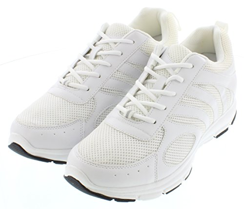 calto–g33038,1cm größer die Höhe Steigerung Aufzug Schuhe (weiß Schnürer Sneakers)