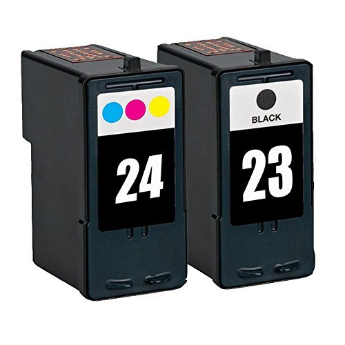 HOTCOLOR Ink Cartridge Replacements for Lexmark 23 Black 18C1523 and Lexmark 24 Color 18C1524 Ink Cartridge for Lexmark Z1410, Z1420, X3530, X3550, X4530, X4550 Printers (1 Black, 1 (Z1420 Color Inkjet Printer)