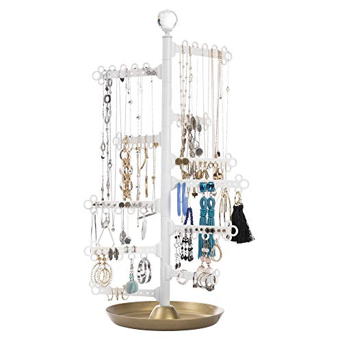 All Hung Up 12-Tier Extra Capacity Jewelry Organizer Holder Stand Tower Tree with Dish/Tray - Display Everything - Necklaces, Earrings (110 Pairs), Rings, Bracelets - Limited Edition: -