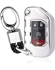 SENDIAYR Flip Sleutelhanger Case Cover Keyless Remote Key Shell TPU Key Protector Houder met Sleutelhanger, voor Jeep Wrangler Gladiator 2020 zilver