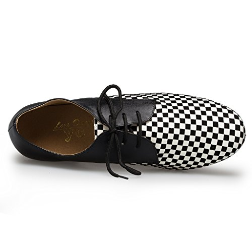 US Shoes Dance Men's 9 Latin M White Leather Checkered Black Party Shoes Miyoopark 7zwqnAxCA