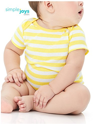 Simple Joys by Carter's Unisex Baby 6-Pack Short-Sleeve Bodysuit, Grey/Yellow, 18 Months