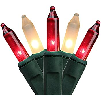 northlight set of 50 red and frosted white mini christmas lights green wire - Red White And Green Christmas Lights