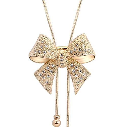 lehao Contracted Charm Bow-Knot Pendant Necklace Petite Bow Necklace Jewelry Party Gifts for Women,Gold