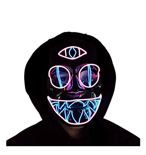 Trippy Lights LED Light Up El Wire Mask Cotton Candy Chakra Cat Rave Festival Halloween Mask
