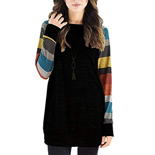 NJDF-women Womens Tops and Blouses Casual Long Sleeve Striped Patchwork Tee Shirt Loose Baseball Shirt Tunic Tops Black Yellow M