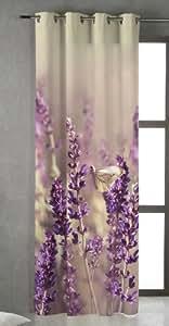 NATURALS FLOR ESPIGOL Cortina confeccionada con Ojales 200 x 260 - impresión digital
