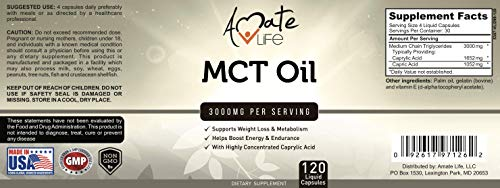 Amate Life 100% MCT mg - Ketone Level Energy Boosting Pill Healthy Focus Supplement USA 120