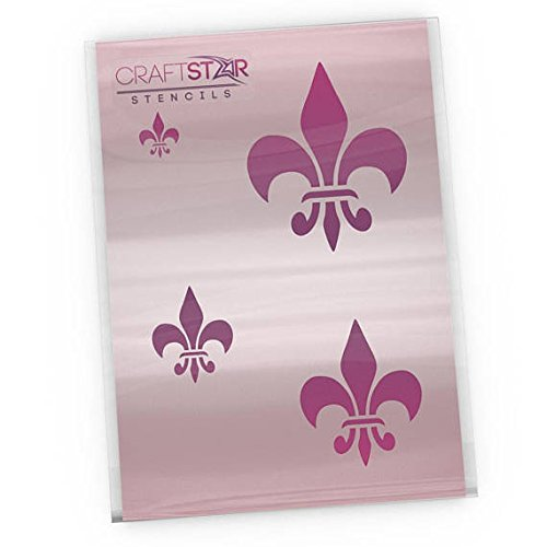 CraftStar Classic Fleur De Lys Stencil Set - 4 sizes from 2.5 to 10 cm