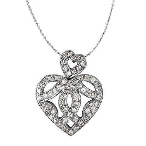 1 Carat Natural Diamond 18K White Gold Heart Pendant for sale  Delivered anywhere in Canada