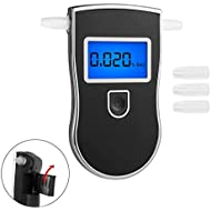 Breathalyzer, Fannel Portable Breath Alcohol Tester LED Screen with Mouthpieces for Home Use (Black)