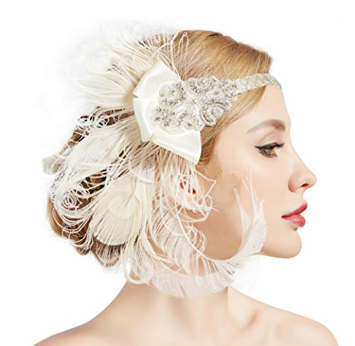 BABEYOND 1920s Flapper Peacock Feather Headband 20s Sequined Showgirl Headpiece (Style-6)]()