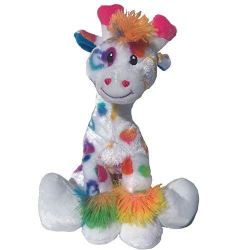 Giraffe Rainbow Plush - 12 inch Valentines Day Stuffed Animal - Soft Plush Giraffe with Hearts Perfect Valentines Day Gift
