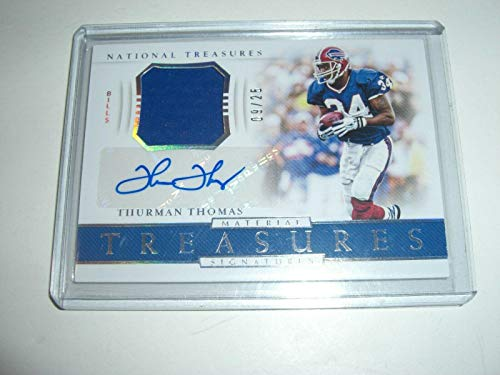 - Thurman Thomas 2018 National Treasures Game Used Jersey Auto 09/25 Signed Card - Football Game Used Cards
