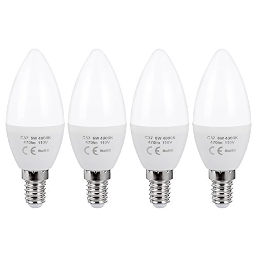 4 Pack 6 Watt 470Lm Cool White 4000K E14 European Base Candle Light Bulbs, LED Torpedo Bulb Energy Saving Lamps, Equivalent with 60W Incandescent Bulb (Shadow And Light Candle)