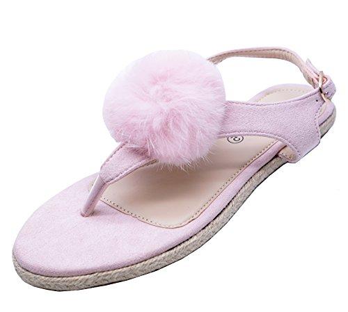Ladies Flat Pink Toe-Post Flip-Flop Summer Sandals Cute Holiday Pumps Shoes Sizes 3-8 KzhZWdVP