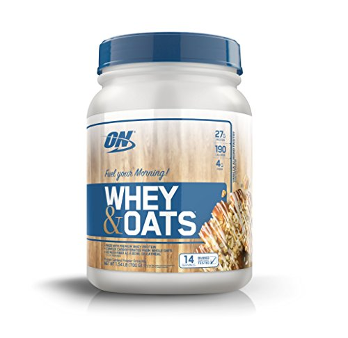 OPTIMUM NUTRITION Whey & Oats Protein Powder, Breakfast Or Anytime High Protein and High Fiber Shake, Vanilla Almond Pastry, 14 Servings