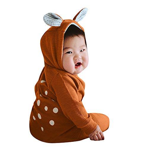 Fheaven (TM) Infant Baby Boy Girl Xmas Party Costumes 3D Deer Ear Hooded Dot Romper Jumpsuit Clothes Outfits (6-12 Months, Brown) -