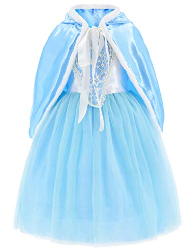 Princess Snow Queen Elsa Costumes Fancy Party Birthday Dress Up for Girls 3-4 Years(110cm) -