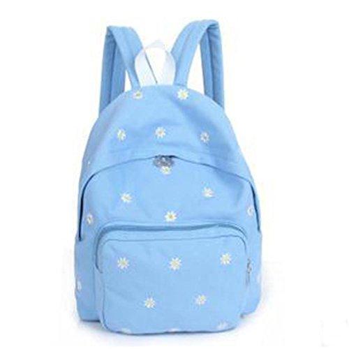 Blue Zipper Teenage Bag Girl Allywit Solid Fashion Backpack Boy Bags Women Shoulder School pCXqXw7