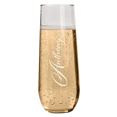 Bridal Party Gifts for Groomsmen Personalized Stemless Champagne Flutes for Groomsman Bachelorette Party Favors Bridal Party Groomsman Gifts for Wedding Set of 6 to 1 ()