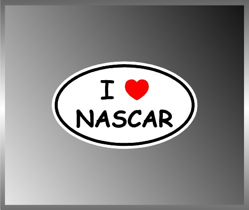 I Love NASCAR Car Racing Vinyl Euro Decal Bumper Sticker ()