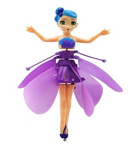 RC Flying Flying Fairy Doll Flashing Rainbow Change Color LED Light Infrared Induction Toy for Kids Adults Helicopter Christmas Gifts