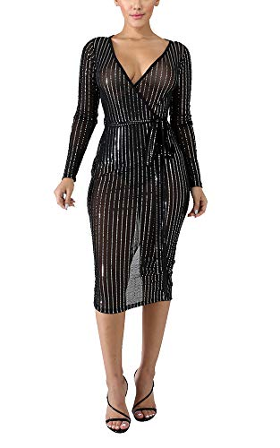 (Prettyol Cocktail Party Dresses for Women Evening Off Shoulder V Neck Faux Wrap Long Sleeve Sequin Mesh See Through Tie Waist Bodycon Midi Dress Clubwear Outfits with Belt Black, X-Large)
