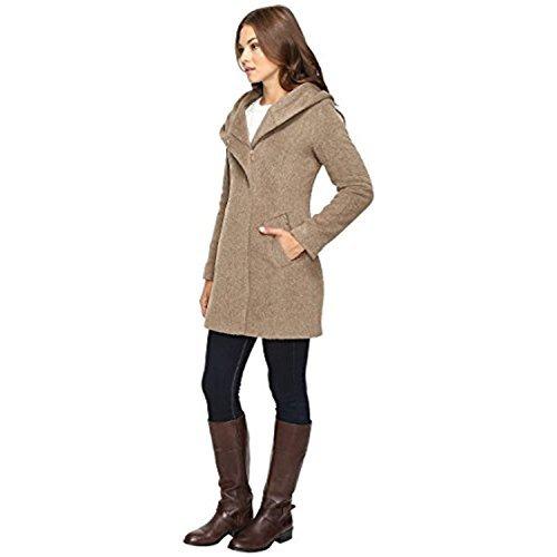Italian Wool Coat (Cole Haan Women's Hooded Italian Alpaca Wool Coat Maple Sugar Outerwear 10)