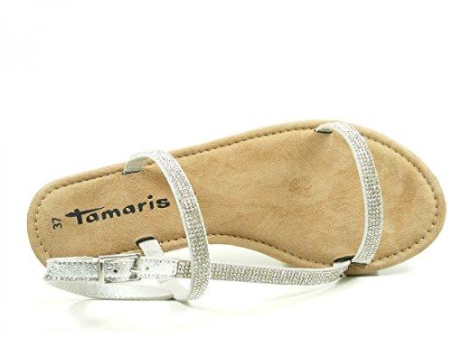 Tamaris 1-28143-28-933 Sandalias Cierre En T para mujer Silber