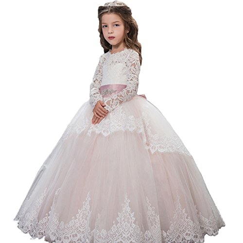Fancy Lace Flower Girls Dresses 0-12 Year Old Pink Size 8 (Fancy Dress Boots)