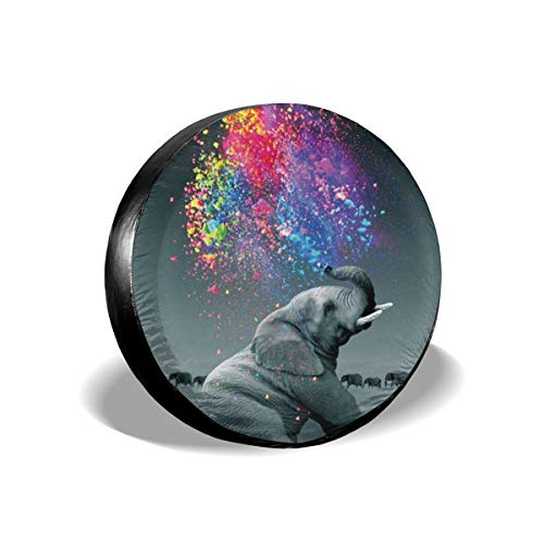 Pigments Patterns Elephants Spare Wheel Tire Cover Polyester Universal Wheel Covers for Jeep Trailer RV SUV Truck Camper Travel Trailer Accessories