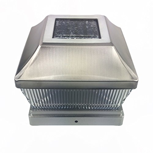 Silver Metal Plated Solar Post Cap LED Light 5x5 Post Deck Fence Lighting 5