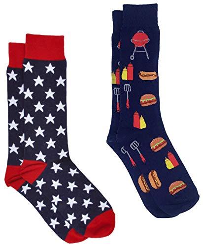 360 Threads Men's Novelty Socks - 2 Pair Set (Flag Stars & BBQ Grill) ()
